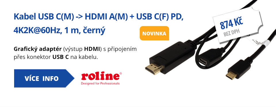 Kabel USB C(M) -> HDMI A(M) + USB C(F) PD, 4K2K@60Hz, 1 m, černý