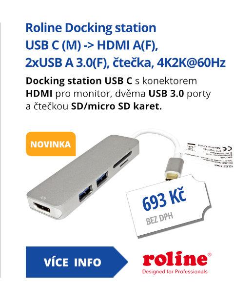 Docking station USB C (M) -> HDMI A(F), 2xUSB A 3.0(F), čtečka karet, 4K2K@60Hz
