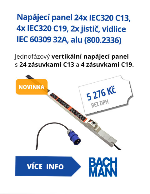 Vertikální napájecí panel 24x IEC320 C13, 4x IEC320 C19, 2x jistič, 3m, vidlice IEC 60309 32A, alu (800.2336)