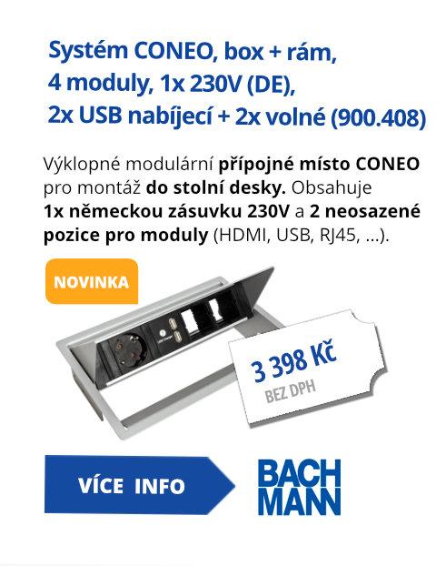 Systém CONEO, box + rám, 4 moduly, 1x 230V (DE), 2x USB nabíjecí + 2x volné (900.408)