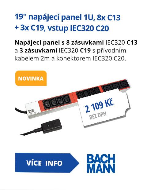19'' napájecí panel 1U, 8x C13 + 3x C19, vstup IEC320 C20 (800.2332)