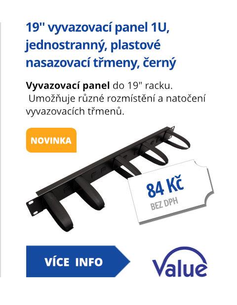 19'' vyvazovací panel 1U, jednostranný, plastové nasazovací třmeny, černý