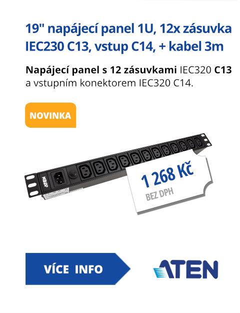 19 napájecí panel 1U, 12x zásuvka IEC230 C13, vstup C14, + kabel 3m (PE0112G)