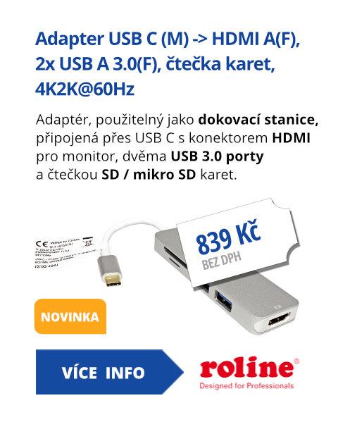 Adapter USB C (M) -> HDMI A(F), 2x USB A 3.0(F), čtečka karet, 4K2K@60Hz