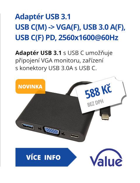 Adaptér USB 3.1 USB C(M) -> VGA(F), USB 3.0 A(F), USB C(F) PD, 2560x1600@60Hz, Alu
