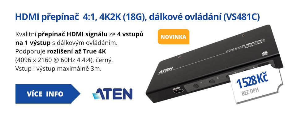 HDMI přepínač  4:1, 4K2K (18G), dálkové ovládání (VS481C)