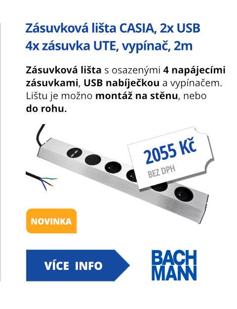 Zásuvková lišta CASIA , 4x zásuvka UTE, vypínač, 2x USB, 2m