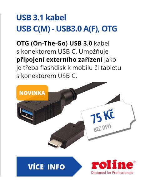 USB 3.1 kabel USB C(M) - USB3.0 A(F), OTG