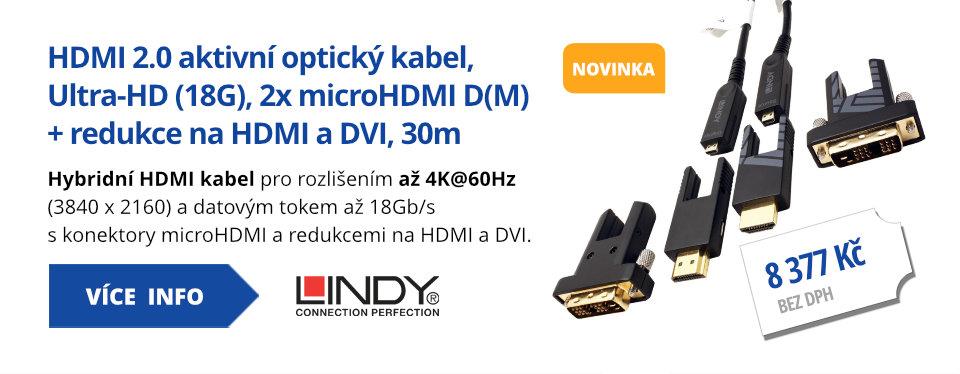 HDMI 2.0 aktivní optický kabel, Ultra-HD (18G), 2x microHDMI D(M) + redukce na HDMI a DVI, 30m