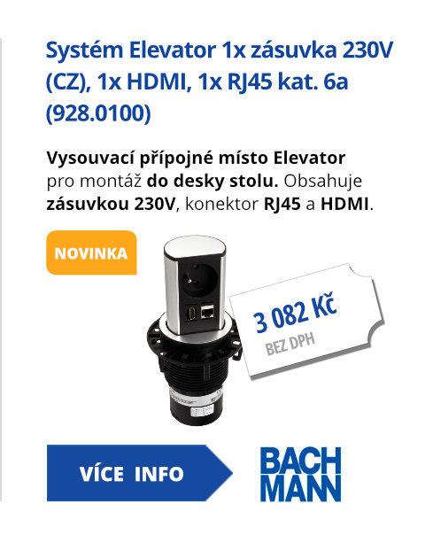 Systém Elevator 1x zásuvka 230V (CZ), 1x HDMI, 1x RJ45 kat. 6a (928.0100)