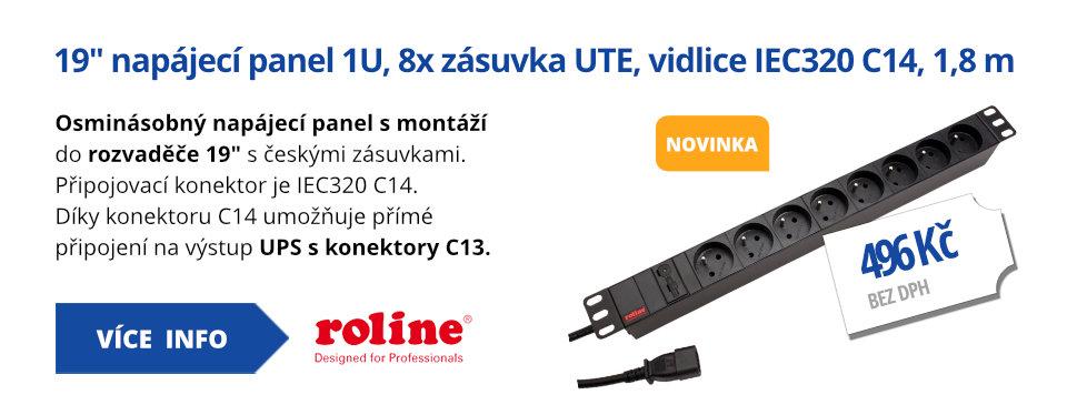 19 napájecí panel 1U, 8x zásuvka UTE, vidlice IEC320 C14, černý, 1,8 m
