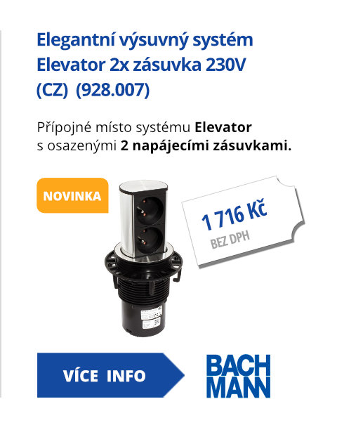 Systém Elevator 2x zásuvka 230V (CZ) (928.007)