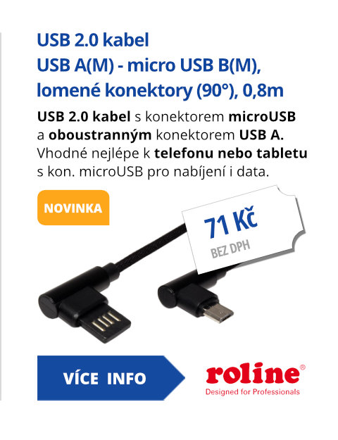 USB 2.0 kabel, oboustranný USB A(M) - micro USB B(M), lomené konektory (90°), 0,8m
