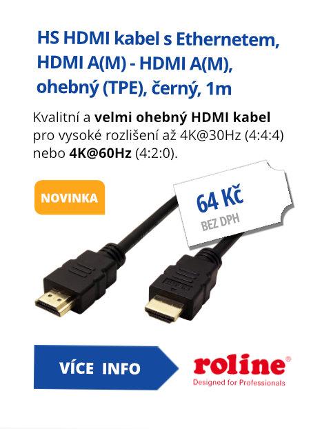 High Speed HDMI kabel s Ethernetem, HDMI A(M) - HDMI A(M), ohebný (TPE), černý, 1m