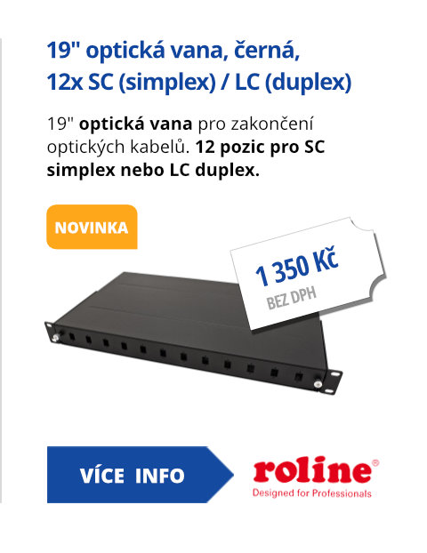 19 optická vana, 12x SC (simplex)/ LC (duplex), černá