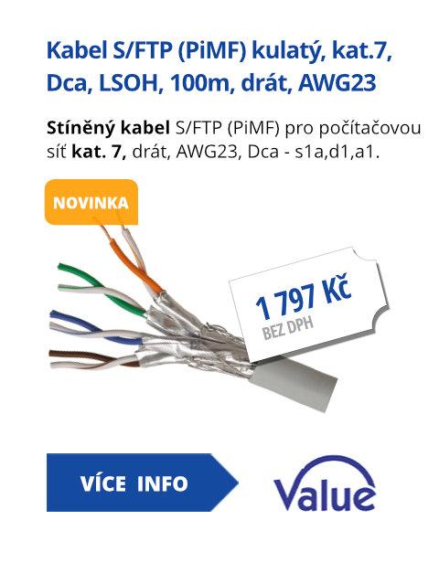 Kabel S/FTP (PiMF) kulatý, kat.7, Dca, LSOH, 100m, drát, AWG23