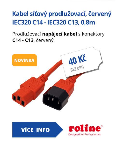 Kabel síťový prodlužovací IEC320 C14 - IEC320 C13, 0,8m, červený