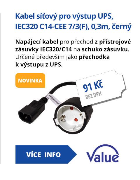 Kabel síťový pro výstup UPS, IEC320 C14-CEE 7/3(F), 0,3m, černý
