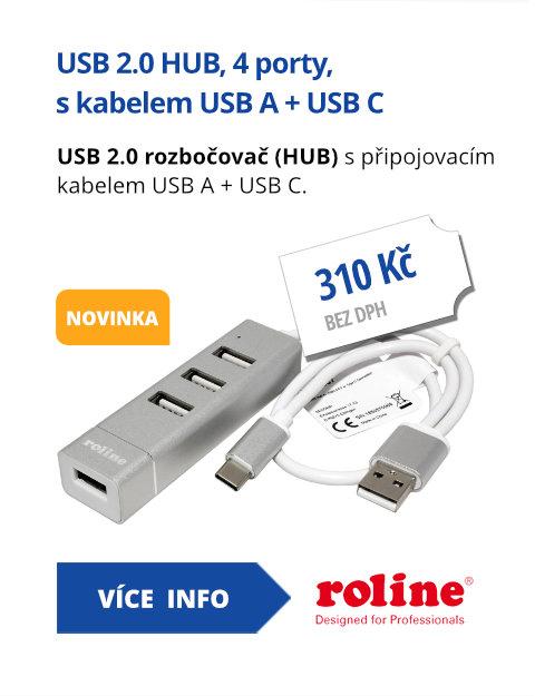 USB 2.0 HUB, 4 porty, s kabelem USB A + USB C