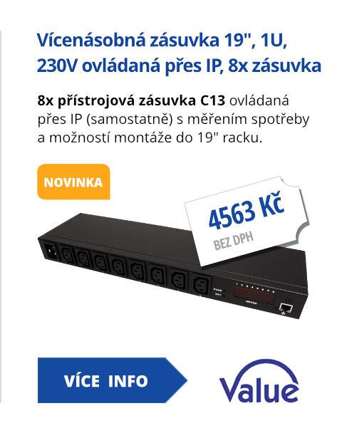 Vícenásobná zásuvka 19, 1U, 230V ovládaná přes IP, 8x zásuvka