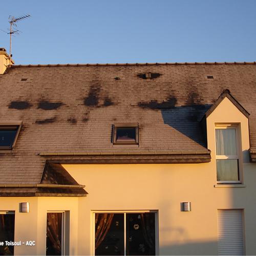 Désordre bâtiment : Ponts thermiques en toiture : déficit d'isolation à la jonction du toit avec le plafond de l'étage. Concours Photo AQC 2021