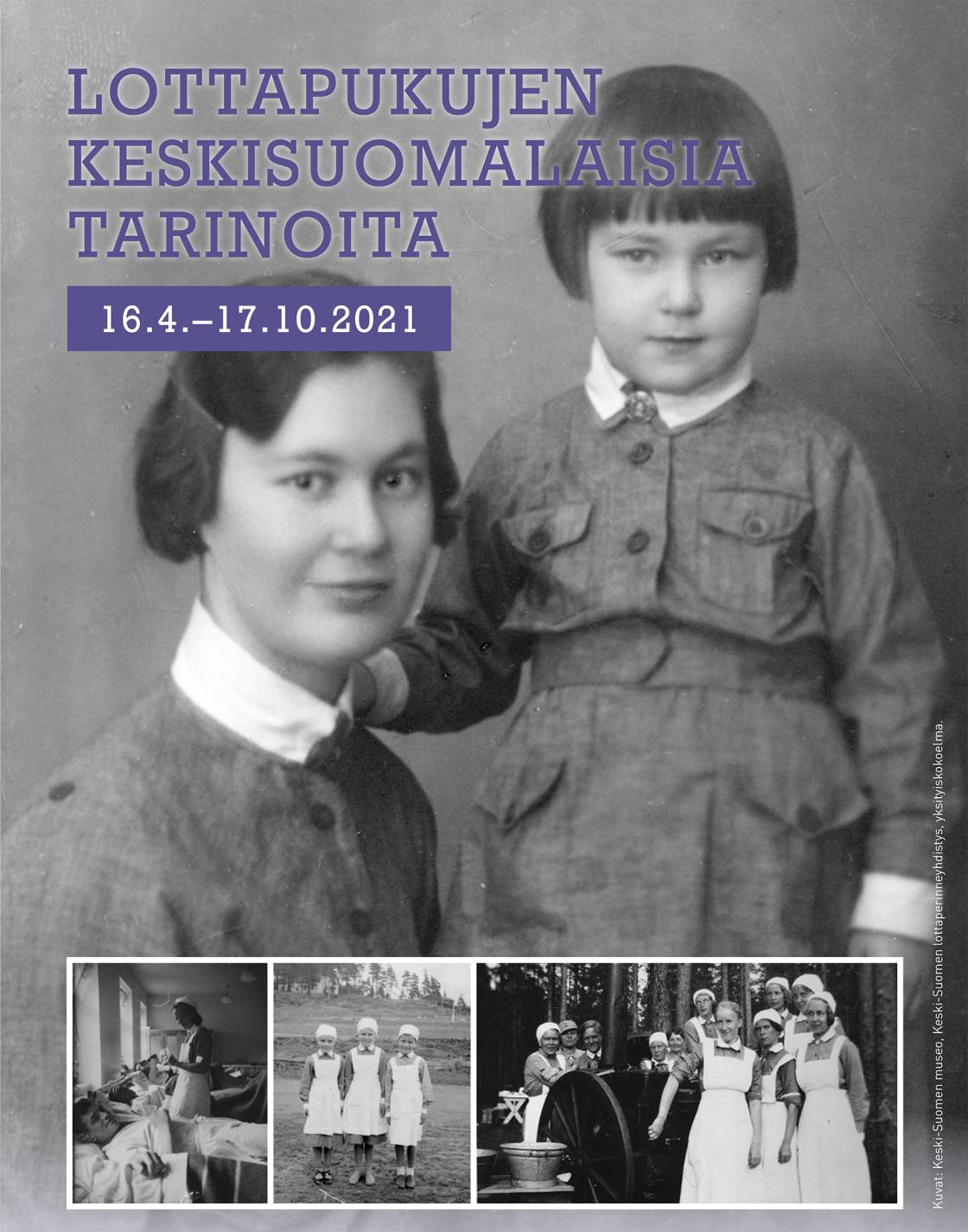 Lottapukujen keskisuomalaisia tarinoita -näyttelyn juliste.