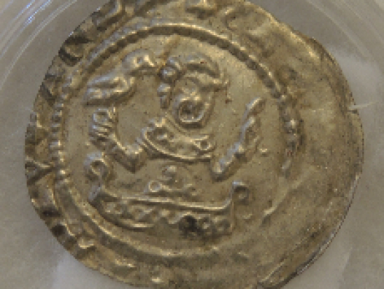 Coin showing a falconer