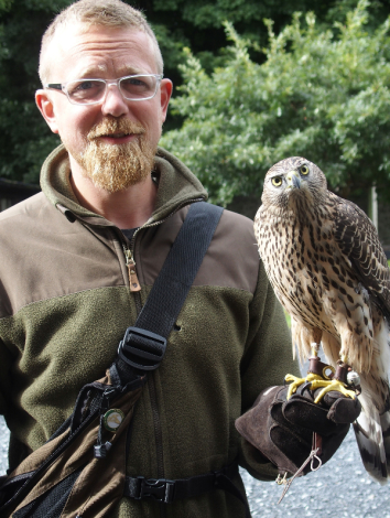 Ed Coulson with male goshawk Archie