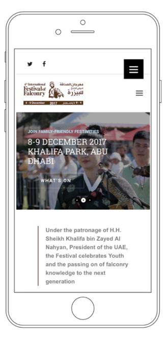 The website of the International Festival of Falconry displayed on an iPhone