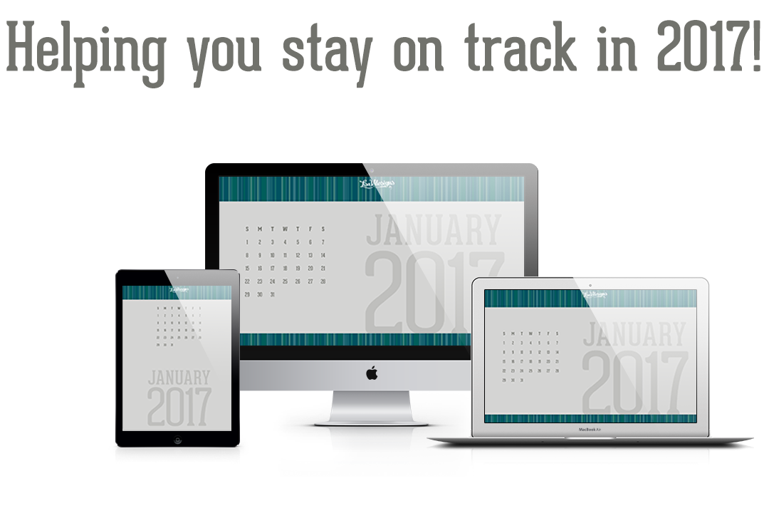 Helping You Stay On Track In 2017! (photo of calendar design on a tablet and a desktop and laptop computer)