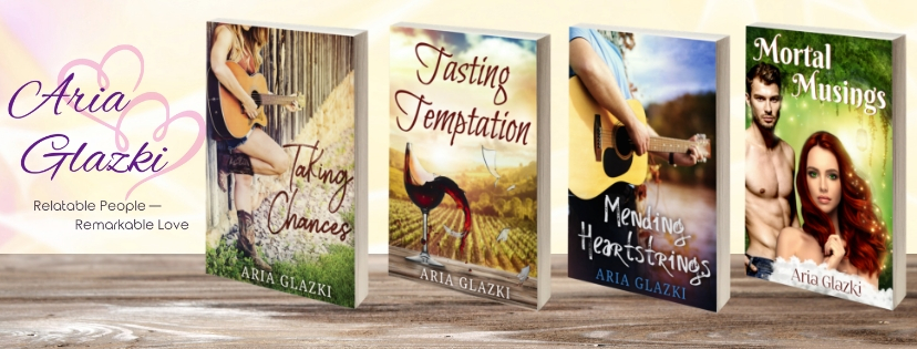 Banner with book cover images and Aria Glazki's tag line,