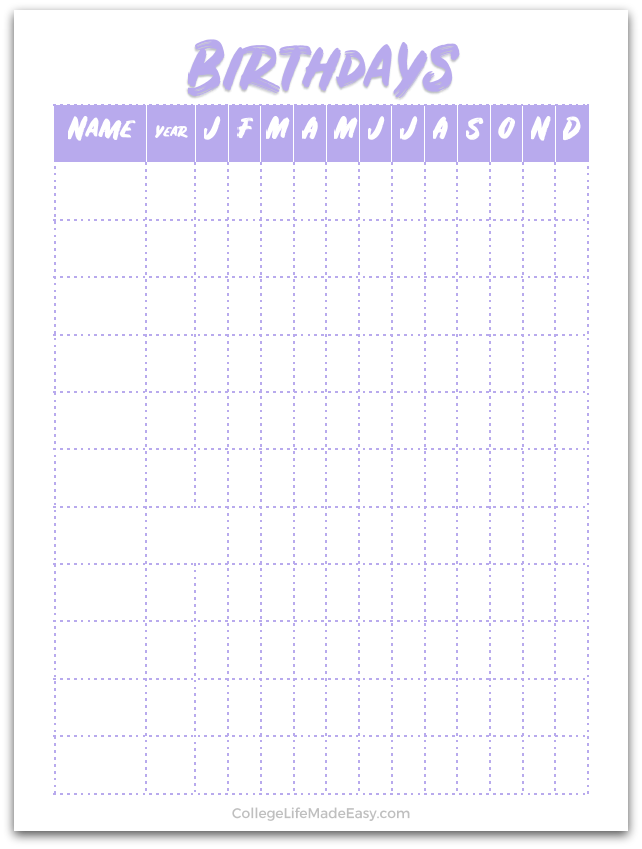 image about Bullet Journal Printable titled Absolutely free Printable Bullet Magazine Birthday Tracker Web pages