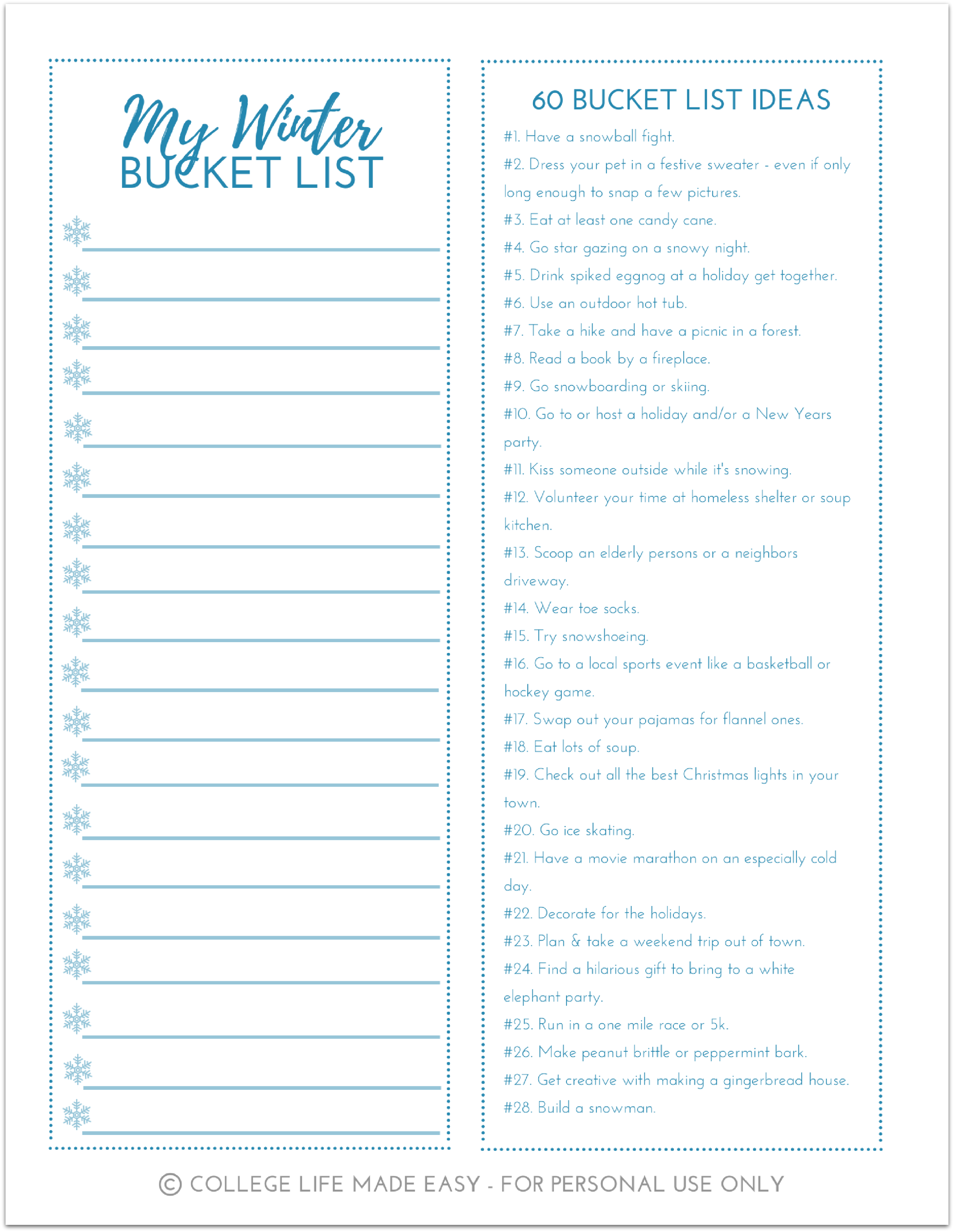 Free Printable Winter Bucket List Worksheets