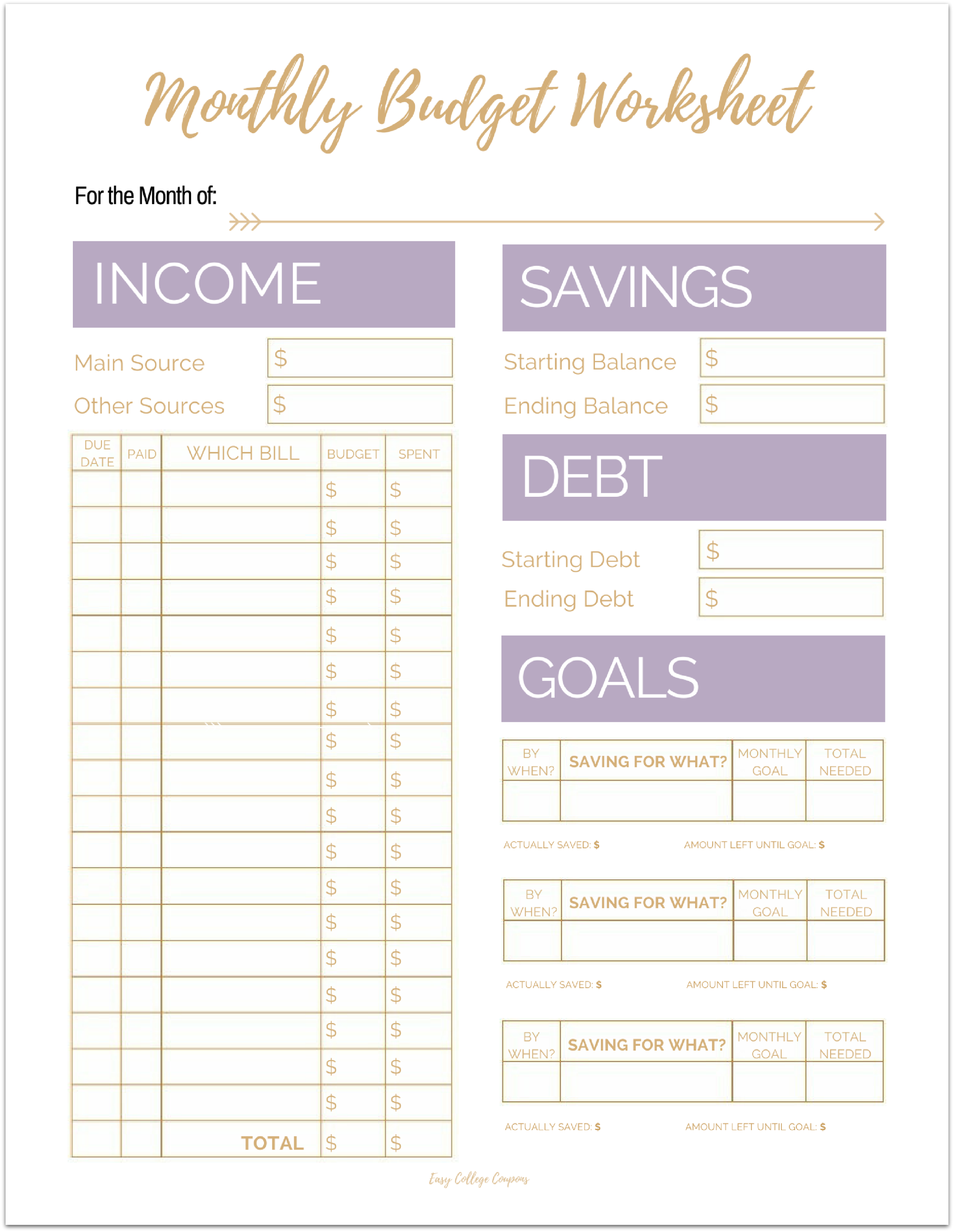 photo relating to Printable Monthly Budget named Absolutely free Printable Every month Price range Template