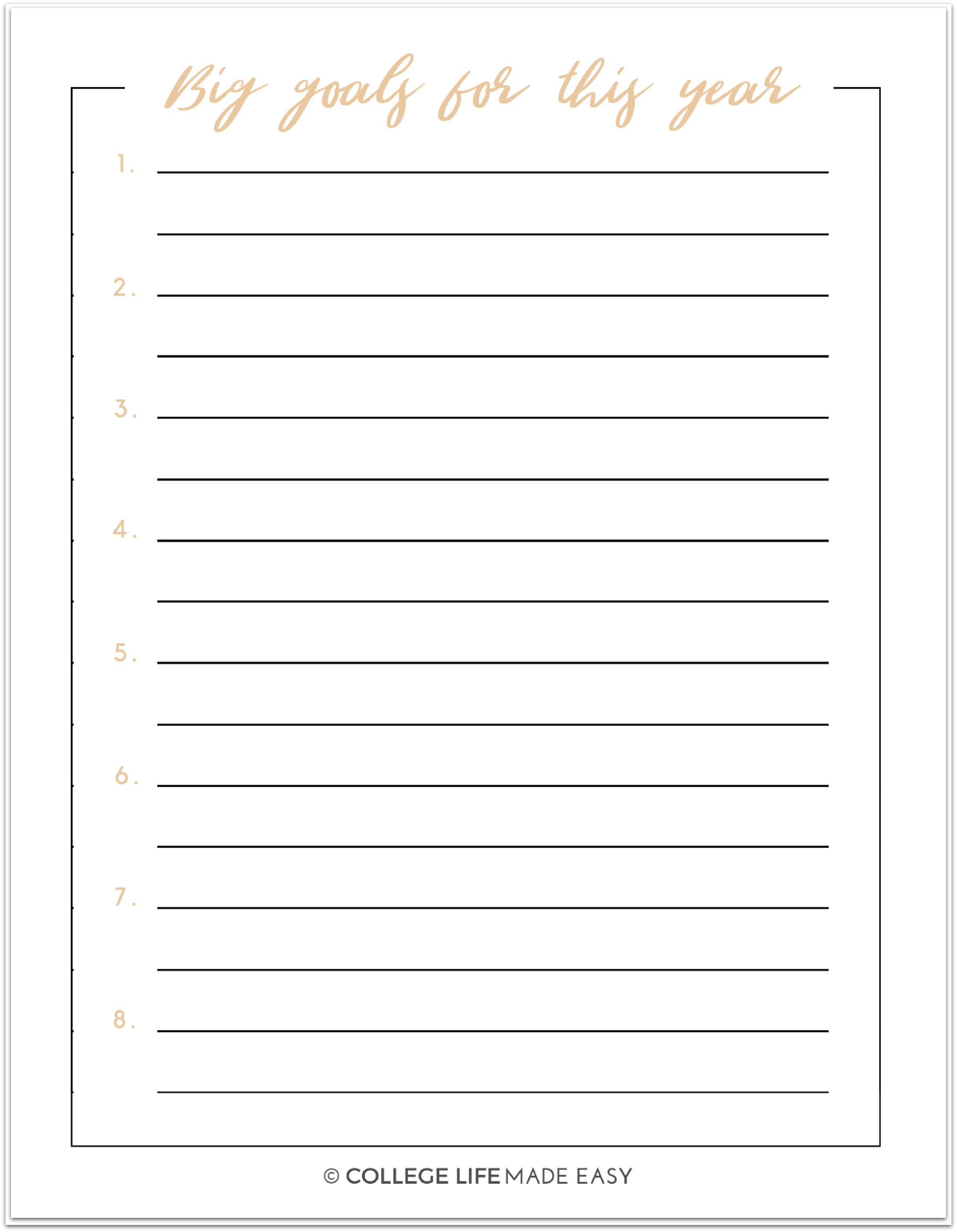 free printable new years resolution worksheets