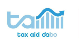 TaxAid logo, with the words tax aid DABC below a blue wave logo that looks like a graph
