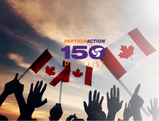 Participaction 150 logo with Canada flags in the background