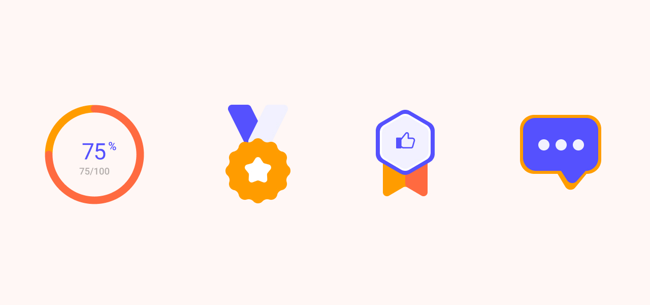 Imagem representando alguns elementos de jogos: progresso, medalha, conversação