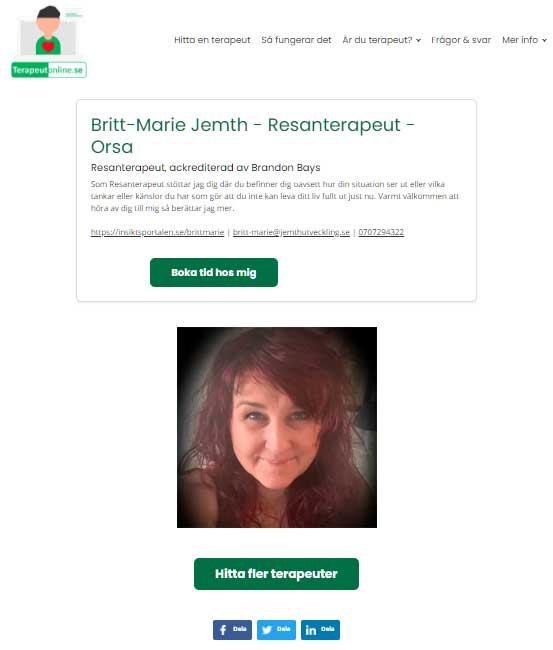 Egen hemsida för varje terapeut online