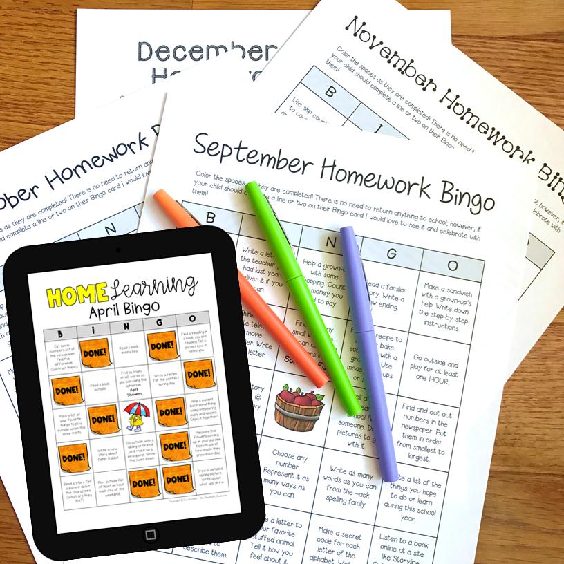 FREE Homework Bingo Choice Boards