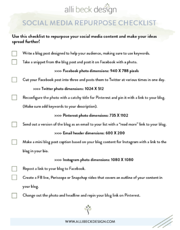 Repurpose your Social Media Contact Checklist
