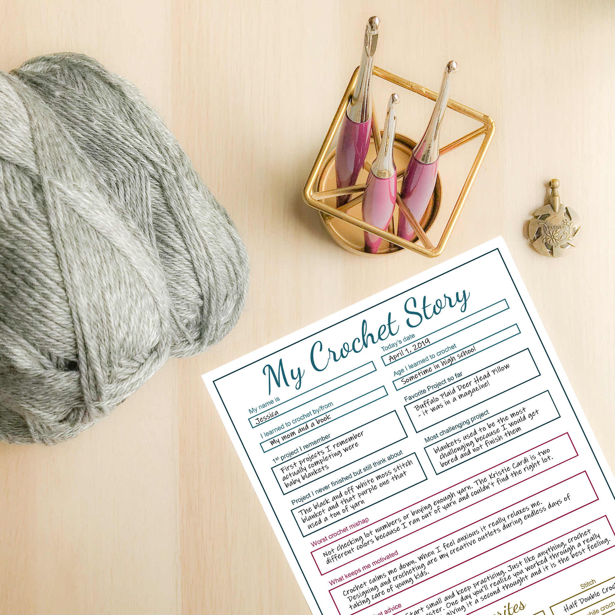my crochet story printable with yarn and hooks