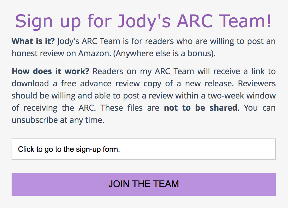 Click here to join the ARC Team.