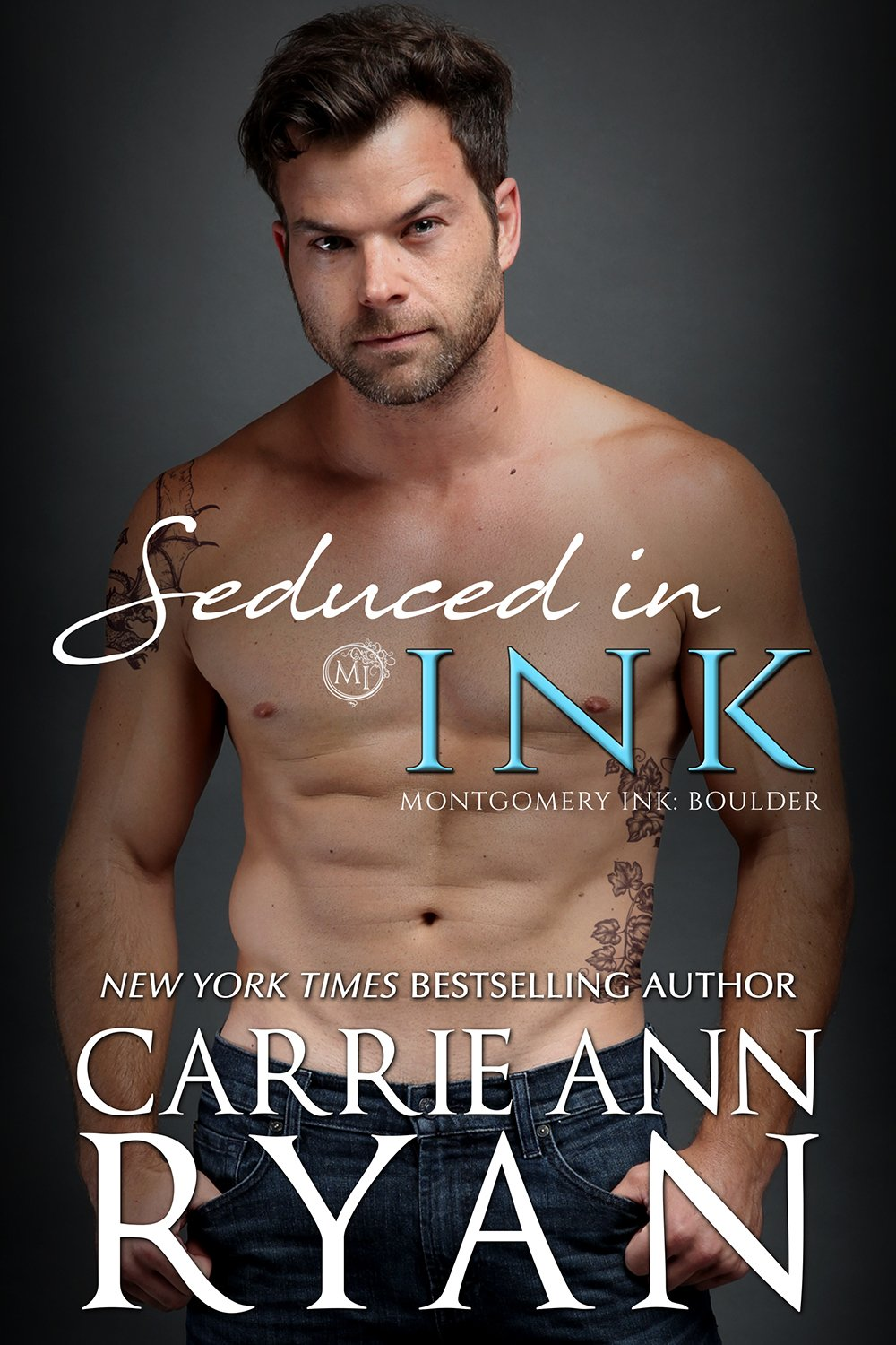 Seduced in INk Cover - Shirtless Man brooding