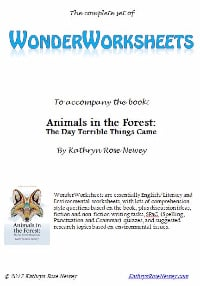 Animals in the Forest, WonderWorksheets, literacy, worksheets