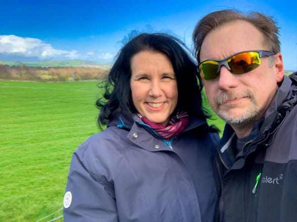 Chris & Lisa Cree in a green field